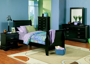 Louis Philippe Black Twin Bed, Dresser & Mirror,Coaster Furniture