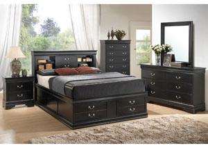 Louis Philippe Black Queen Storage Bed, Dresser & Mirror,Coaster Furniture