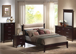 Kendra Mahogany Queen Bed, Dresser, Mirror & Chest & Night Stand