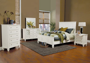 Sandy Beach White King Bed, Dresser, Mirror, Chest & Night Stand,Coaster Furniture