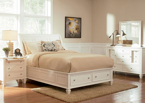 Sandy Beach White Queen Bed, Dresser, Mirror, Chest & Night Stand