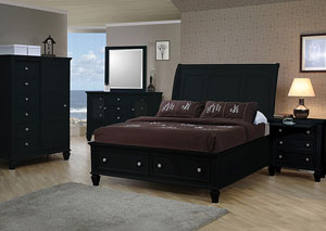 Sandy Beach Black Queen Storage Bed, Dresser, Mirror, Chest & Night Stand