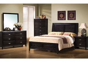 Nacey Dark Walnut Queen Bed, Dresser & Mirror,Coaster Furniture