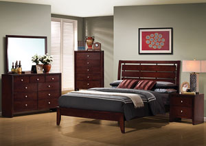 Serenity Merlot King Bed, Dresser, Mirror & Chest,Coaster Furniture