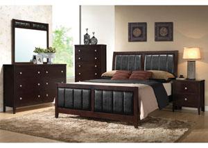Solid Wood & Veneer Queen Bed, Dresser, Mirror & Chest