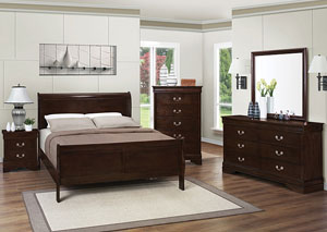 Louis Philippe Cappuccino Queen Bed, Dresser, Mirror & Nightstand,Coaster Furniture