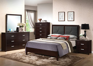 Andreas Black Queen Bed, Dresser, Mirror, Chest & Night Stand
