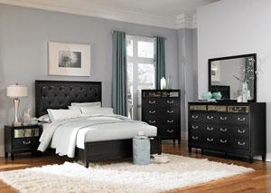 Devine Black Queen Bed, Dresser, Mirror & Night Stand