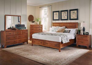 Willow Creek Honey California King Bed, Dresser, Mirror, Chest & Night Stand