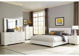 High Gloss White Eastern King Bed, Dresser, Mirror, Chest & Nightstand