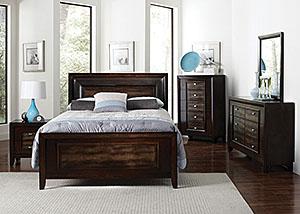 Brown Crocodile Queen Bed, Dresser & Mirror