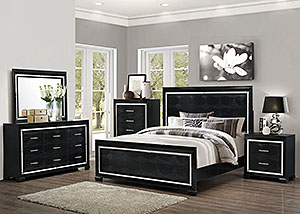 Black Eastern King Bed, Dresser & Mirror,Coaster Furniture