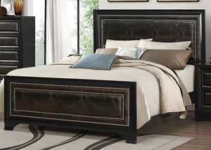 Rubbed Through Black Upholstered Queen Bed,Coaster Furniture