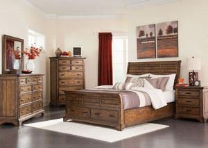Vintage Bourbon Eastern King Bed, Dresser, Mirror & Nightstand