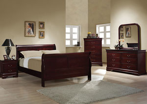 Louis Philippe Cherry Queen Bed, Dresser & Mirror