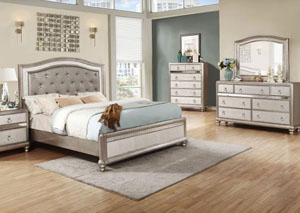 Metallic Platinum Eastern King Bed, Dresser, Mirror, Chest & Nightstand,Coaster Furniture