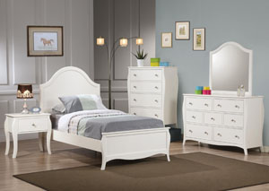 Dominique White Twin Bed Bed, Dresser & Mirror