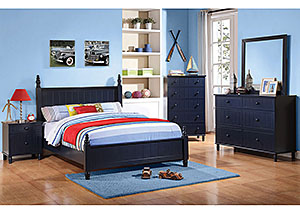 Navy Blue Full Bed, Dresser, Mirror & Nightstand