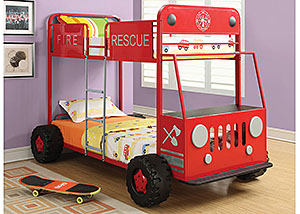 Red Fire Rescue Car Bunk Bed
