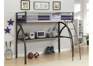 Black & Silver Twin Size Loft Bed