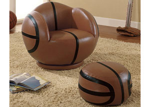 Brown Small Kids Basketball Chair & Ottoman