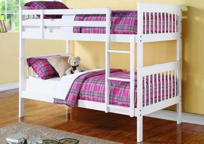 White Matte Twin/Twin Bunk Bed,Coaster Furniture