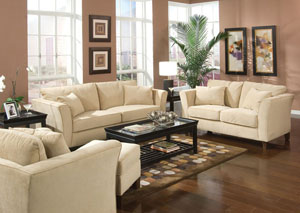 Park Place Cream & Cappuccino Durable Colored Velvet Sofa & Love Seat