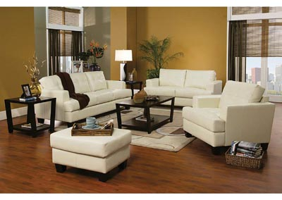 Samuel Cream Bonded Leather Sofa