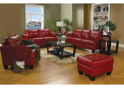 Samuel Red Bonded Leather Sofa