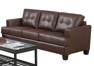 Samuel Dark Brown Bonded Leather Sofa