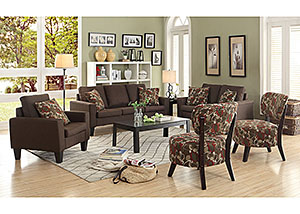 Chocolate Sofa, Loveseat & Chair