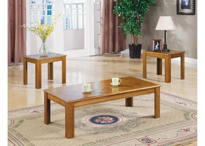 Veneer Parquet 3pc Table Set,Coaster Furniture