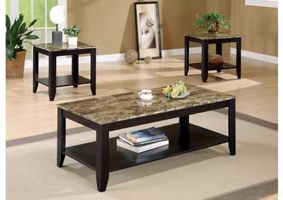 Marble Like Top Occasional 3pc Table Set