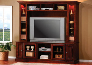 Merlot TV Console w/ Hutch