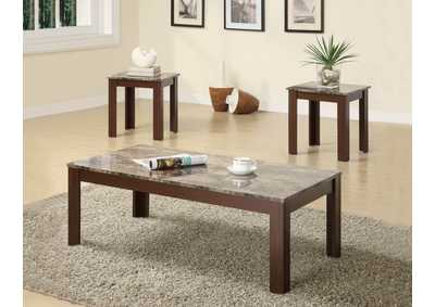 Marble Looking 3pc Occasional Table Set,Coaster Furniture