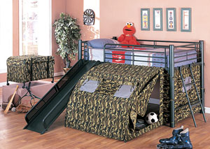 Twin Bunkbed w/ Slide & Tent