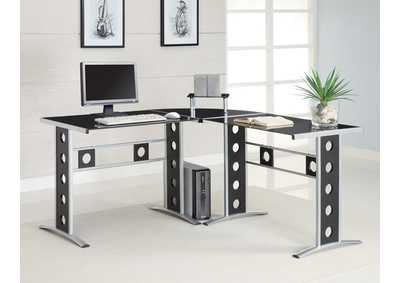 Black & Silver Computer Unit,Coaster Furniture