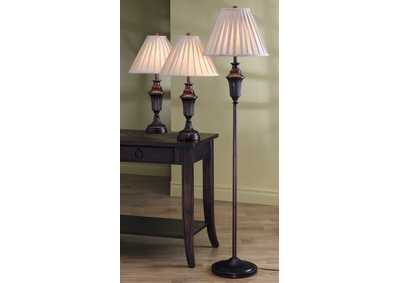 Bronze 3 Piece Floor and Table Lamp Set,Coaster Furniture
