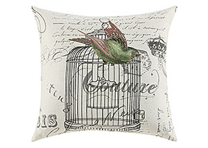 Embroidery Of Green/Pink Bird With The Cage & Vintage French Pillow (Set of 2)