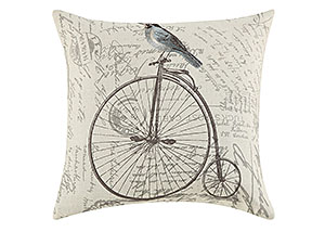 Embroidery Of Blue Bird On The Bicycle & Vintage French Pillow (Set of 2)