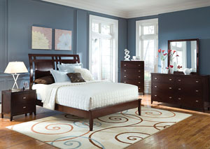 Calvin Cappuccino King Bed, Dresser, Mirror, Chest & Nightstand