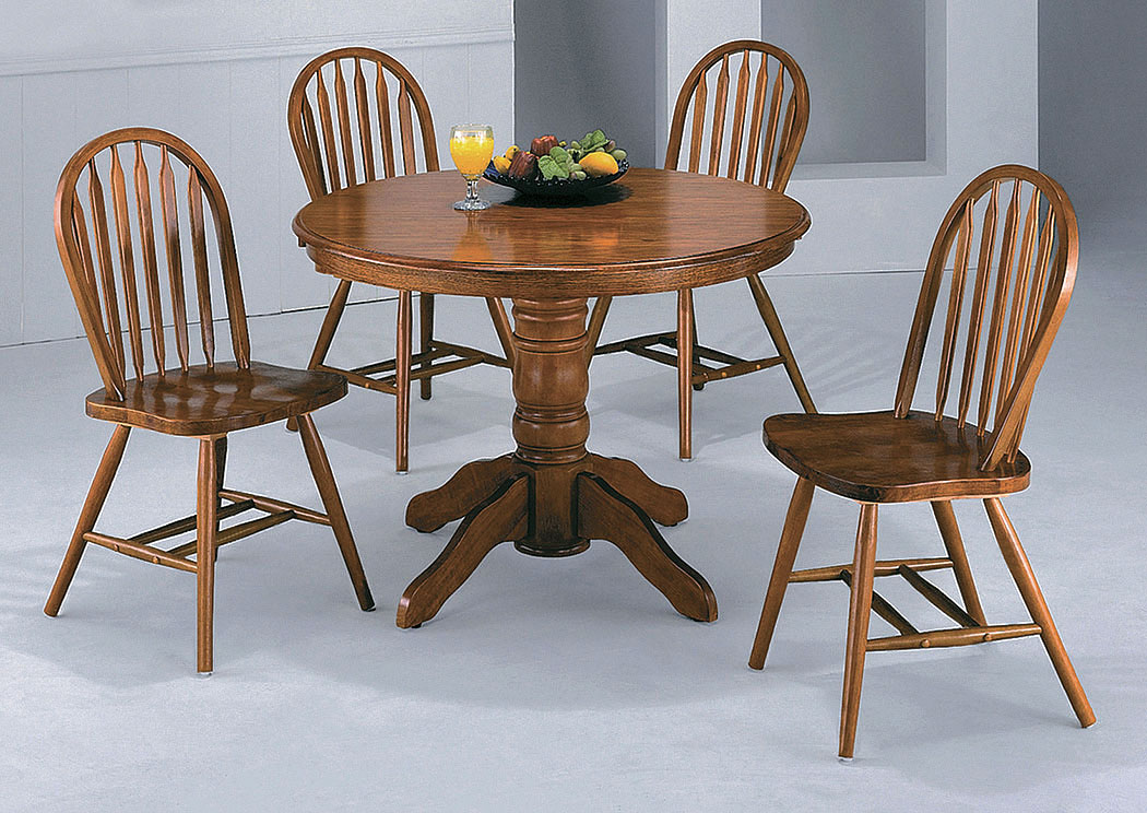 Furniture Farmhouse Dark Oak Round Dining Table W 4 Side Chairs