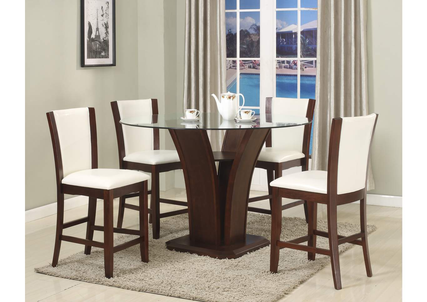 Camelia Counter Height Dining Room Table W 4 Espresso Counter Height