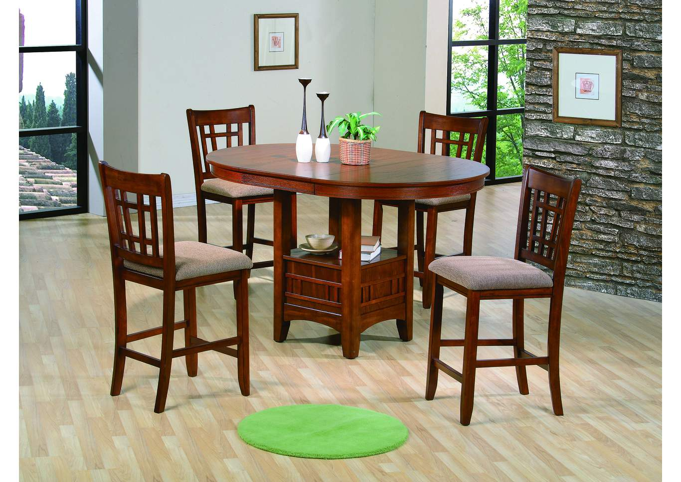 Ware House Furniture Empire Oak Finish Counter Height Dining Table