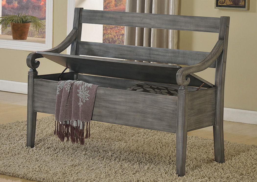 National Furniture Outlet Westwego La Kennedy Grey Storage Bench