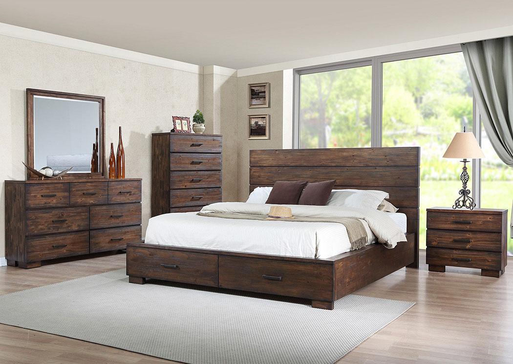 Long Furniture Rainbow City Al Cranston King Storage Bed W Dresser And Mirror