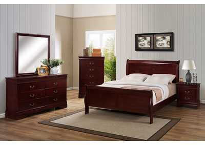 Louis Philip Cherry Queen Sleigh Bed w/6 Drawer Dresser, Mirror, 5 Drawer Chest and Nightstand,Crown Mark