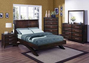 Vera Queen Platform Bed w/Dresser, Mirror, Drawer Chest and Nightstand