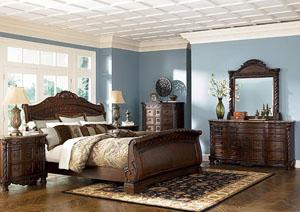 Brown Queen Sleigh Bed