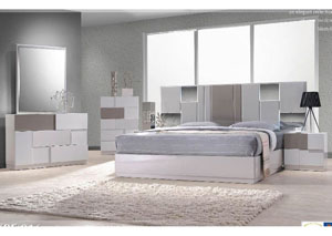 Bianca Queen Platform Bed w/ Dresser & Mirror